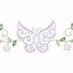 A18 Haft Motyl z Kwiatkami
