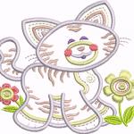 A19 Haft Kotek z Kwiatkami
