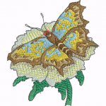 A25 Haft Motyl na Kwiatku