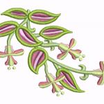 D12 Haft Liscie Kwiatu