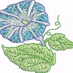 D19 Haft Kwiat Niebieski