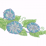D20 Haft Trzy Kwiaty Niebieskie