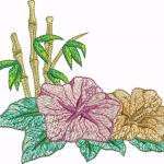 D22 Haft Kwiaty Na Bambusie