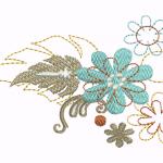 D47 Haft Kwiaty z Lisciem